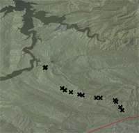 Thumbnail view of drill hole and/or outcrop locations, Ferris 50 coal zone