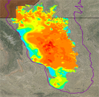 Thumbnail view of net coal thickness in the Wyodak-Anderson coal zone in the Powder River Basin