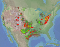 Thumbnail view of oil and gas cells in the contiguous United States